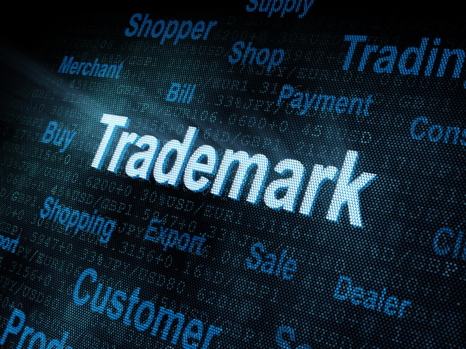 Pixeled word Trademark on digital screen